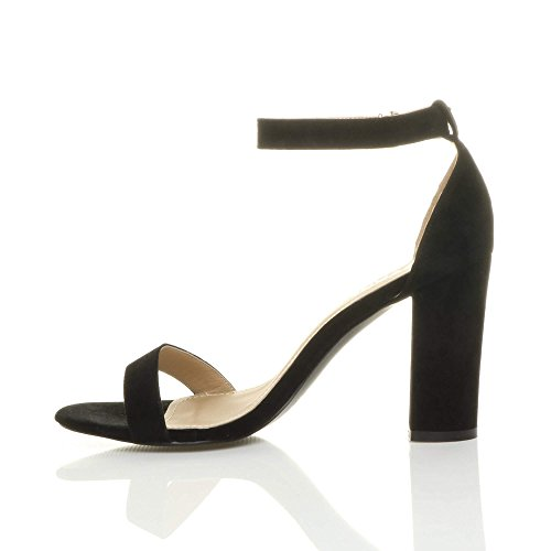Sandalen Schwarz Wildleder Riemchen Größe Damen Schuhe Peep Hochblockabsatz Knöchelriemen Toe xaTw1Yq8