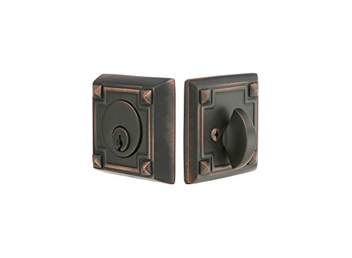 Door Emtek Arts & Crafts - Emtek 8454 Arts and Crafts Style Designer Brass Single Cylinder Deadbolt, Oil Rubbed Bronze