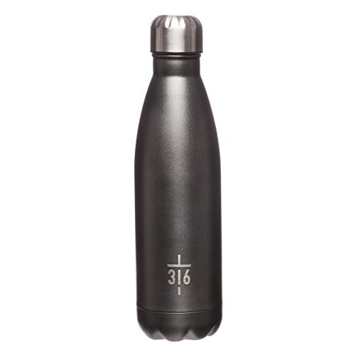 John 3:16 Cross, Metallic Charcoal Grey Color, Insulated Stainless Steel Water Bottle, Hot or Cold Beverages, John 3:16 ()