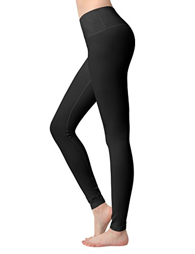 ACTICLO Yoga Pants High Waist Tummy Control Workout Running Tights w Hidden Pocket for Women's Black Small