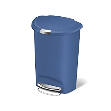 simplehuman Semi-Round Step Plastic Can, 50 L, Blue