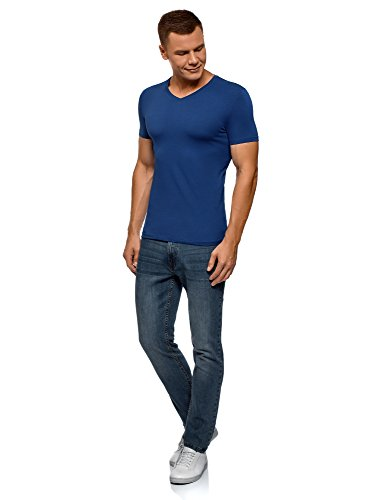shirt T Blu7502n Ultra Basic Etichetta Oodji A Con Senza Scollo V Uomo 4R35qcjLA
