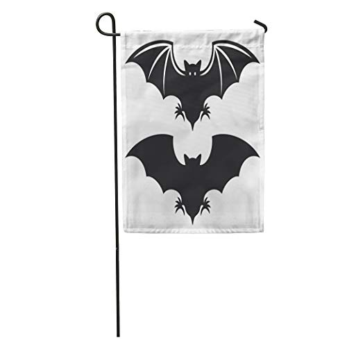 Semtomn Garden Flag Halloween Flight of Bat Silhouette Vampire Wing Cartoon Symbol Sketch Home Yard Decor Barnner Outdoor Stand 28x40 Inches Flag