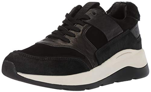 FRYE Women's Willow Low LACE Sneaker, Black Hair Calf/Suede/Shearling, 8.5 M - Lace Willow