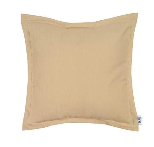 RSH Décor Indoor ~ Outdoor Decorative Flange Square Throw Pillow Made of Sunbrella Canvas Vellum (22