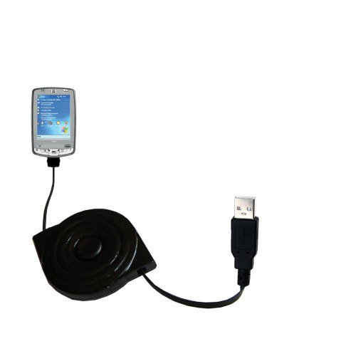 USB Power Port Ready retractable USB charge USB cable wired specifically for the HP iPAQ hx2495 / hx 2495 and uses TipExchange by Gomadic