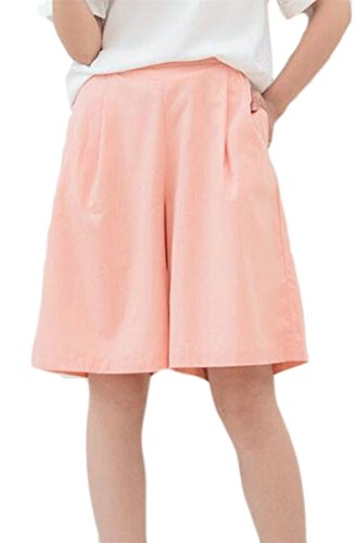 Fulok Womens High Waist Baggy Fit Culottes Knee Length Short With Pockets