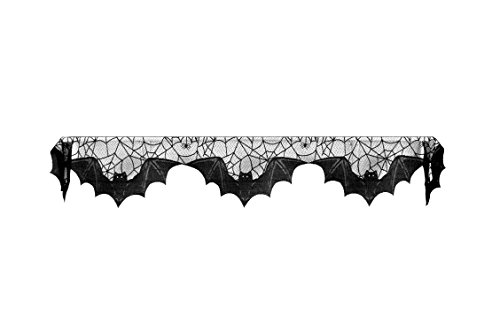Heritage Lace Halloween Bats Mantle Scarf , 20'' x 80'', Black Lace, Made in the USA by Heritage Lace