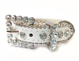 White Silver Rhinestone Leather Collar product image