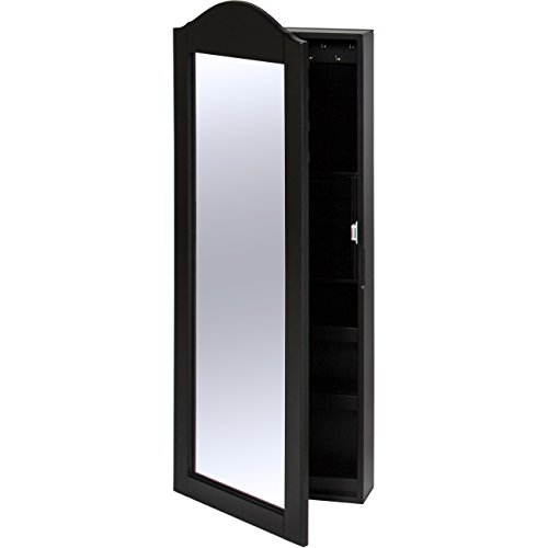 Best Choice Products Wall Mounted Mirror Jewelry Cabinet Armoire Black by Best Choice Products (Image #4)