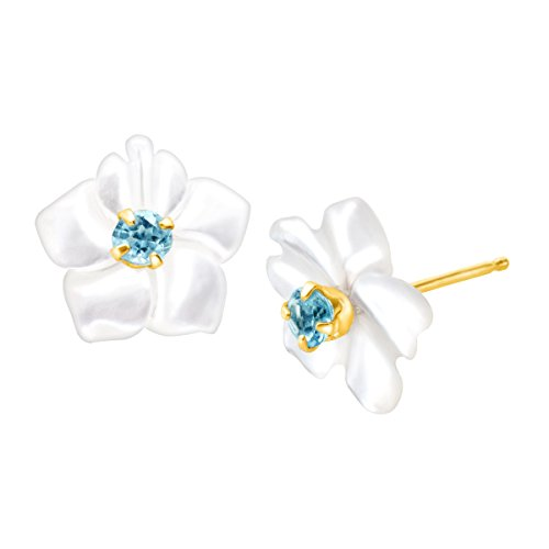 (1/10 ct Natural Blue Topaz and Mother-of-Pearl Stud Earrings in 14K Gold)
