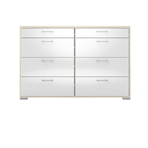 Tvilum 70165akuu Homeline 8 Drawer Double Dresser, Oak Structure/White High Gloss ()