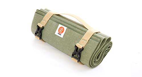 YOGO Ultralight Travel Yoga Mat, Folding with Integrated Straps and Handle for Carry and Wash (Forest)