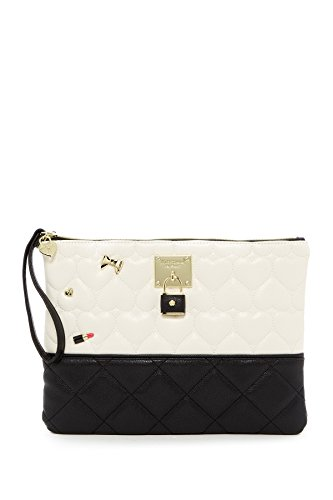 Betsey Johnson Be Mine Quilted Heart 2 Tone Lipstick Bow Heart Boxed Pin Pouch Handbag ()