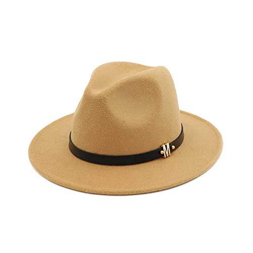 Borsalino Leather - CORATO New Letter Leather Decoration Wool Felt Jazz Fedora Hats Flat Brim Panama Gambler Hat Trilby Width Brim Caps Men Women Khaki