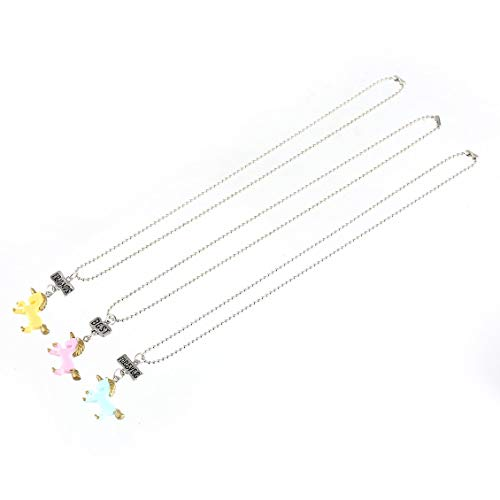 - 3pcs/Set Resin Unicorn Pendant Necklace Best Friends Forever Pattern Matching Necklace for Girls Boys Kids Friendship Jewelry
