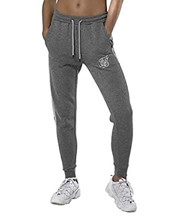 Pantalones Siksilk Embroidered Panel Jogger Gris: Amazon.es: Ropa ...