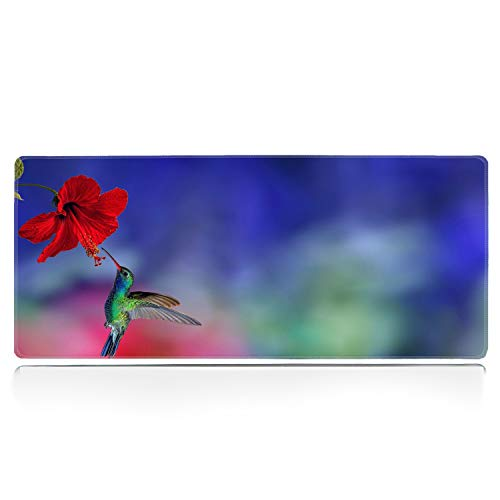 Large Gaming Mouse Pad with Stitched Edge, Picking Hummingbirds Desk Pad XXL Mouse Pad, Office Desk Mat Non-Slip Waterproof Rubber Base Extended Mouse Mat Keyboard Pad -31.5x11.8 inches