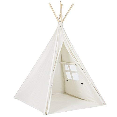 Funkatron Indoor Indian Playhouse Toy Teepee Play Tent for Kids Toddlers Canvas with Lights, White