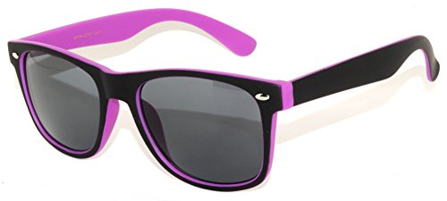 Stylish Fashion Two -Tone Smoke Lens Sunglasses Black-Purple - Glasses Tone 2