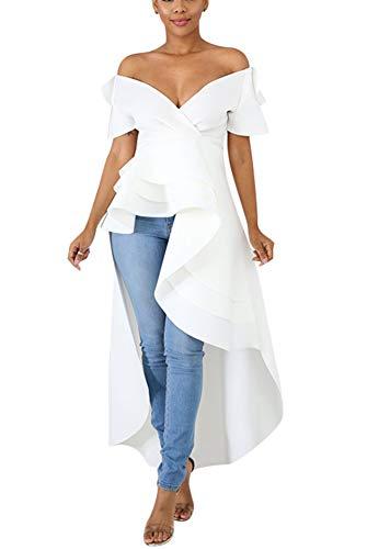 Fashion High Low Tops for Women - Unique Ruffle Off Shoulder Tunic Shirt XX-Large White