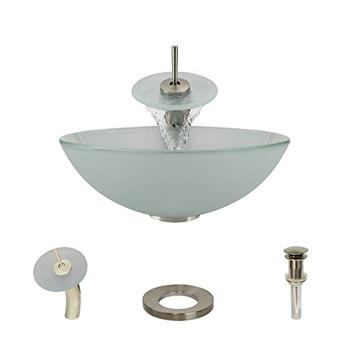 R5-5002-WF-BN Frosted Glass Vessel Sink with Brushed Nick...