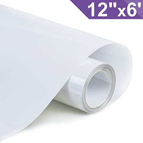 ARHIKY Iron on Heat Transfer Vinyl Roll HTV (12x6,White)