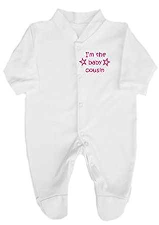 1746b3fccf9d The Bees Tees I m The Baby Cousin Stars Design Babygrow   Sleepsuit ...