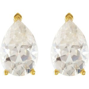 3 Cttw Charles and Clovard 14k Yellow Gold Moissanite Pear Solitaire Earrings by The Men's Jewelry Store