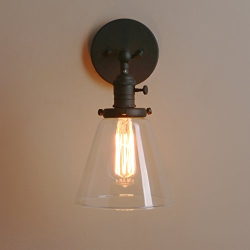 Permo Industrial Wall Sconce Lighting with On/Off Switch Funnel Flared Clear Glass Hand Blown Shade (Black) (Vintage Hand Blown Glass)