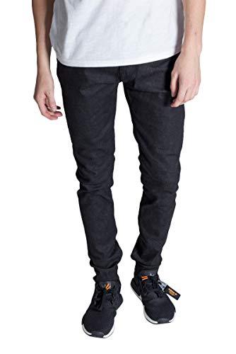 - KDNK Men's Tapered Skinny Fit Raw Denim Zipper Fly Seamed Leg Panel Ankle Zip Jeans (32, Black)
