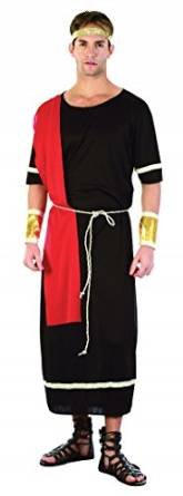 [Black Men's Caesar Toga Costume] (Black Men Halloween Costume)