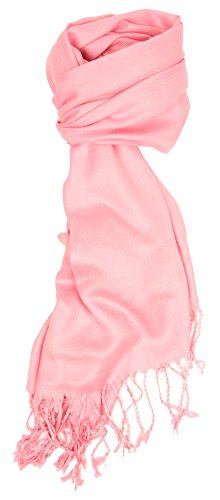 Love Lakeside-Large, Soft, Silky Pashmina Shawl, Wrap, Scarf in Solid Colors of Pink Pale Pink