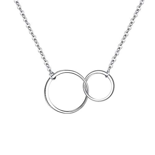 EVER FAITH Mother Daughter Necklace Sterling Silver Infinity Interlocking Double Circles Friendship Sister Necklace