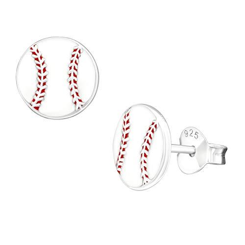 (8mm Sport Baseball Studs Earrings 925 Sterling Silver Push)