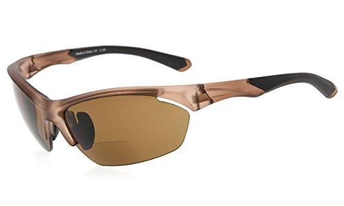 Eyekepper TR90 Sports Bifocal Sunglasses Baseball Running Fishing Driving Golf Softball Hiking Half-Rimless Reading Glasses (Matte Brown, - Driving Bifocal Glasses