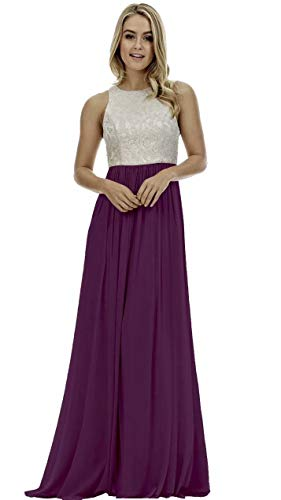 Lace Bridesmaid Dress Long A-Line Evening Wedding Party Prom Gowns for Womens Grape 4