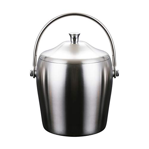 MLXG Double Wall Ice Bucket, Thicken Stainless Steel Ice Buckets, Versatility Insulated Portable Brushed Rust Resistant Wine Champagne-Polish 2L ()