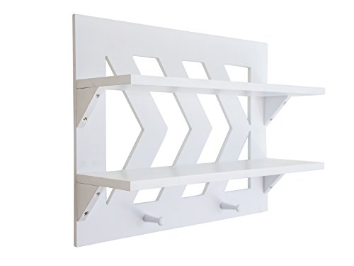 White Wall Mounted Chevron Design Shelf By SoCal Buttercup –Large Wooden Organizer Storage Shelf –Ideal For Bathroom, Bedroom, Kitchen &Living Room –Available In Rustic Or White (Wall Hangings Where Buy To)