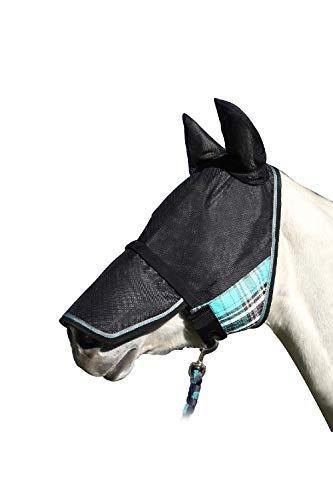 UViator Deluxe Protective Fly Mask & Halter - Kensington's Newest UV Solar Screen Protection with a 90% UV Rating - Double Locking CatchMask Fasteners - Non Heat Transferring Fabric (M, Black Ice)