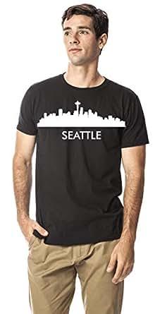 Seattle city skyline round neck cotton tshirt, Black XXL