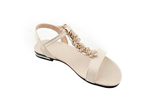 Bout Beige Boucle heels Ouvert Sandales Solide balamasa no Femme 5PpqnvTg