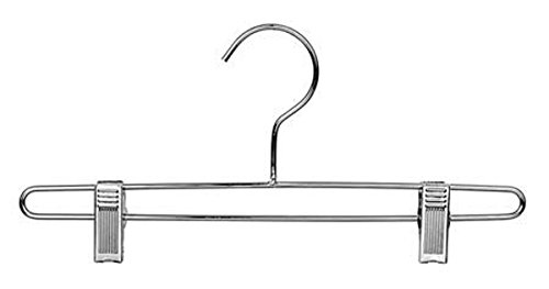 Heavy Duty Metal Bottom Hanger With Clips Pants Lingeries Retail Display 12'' Chrome Lot of 100 New by Bentley's Display