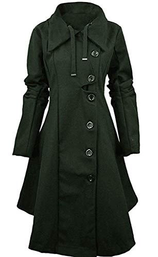 Warmer Women's Turn Down Collar Double Breasted Long Trench Coat Outerwear,Reverse,2_Dark_Green
