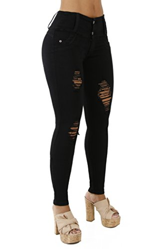 Curvify 764 Women's Butt-Lifting Skinny Jeans | High-Rise Waist, Brazilian Style (764,Black, (Back Skinny Jeans)