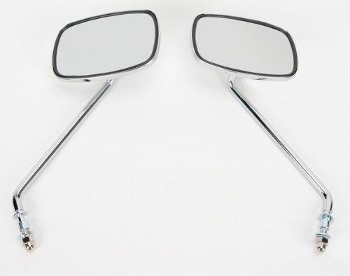 (Emgo Universal Screw-In Mount Mirror - Long Stem - Plain Face - Pair 20-21705)