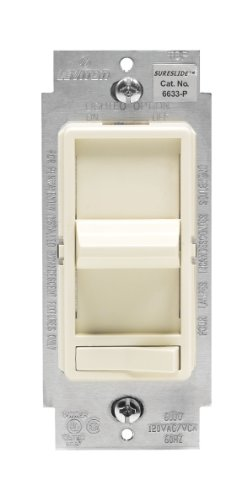 Leviton 6633-1LT SureSlide 600W Single Pole or 3-Way Preset Incandescent Dimmer, Light Almond