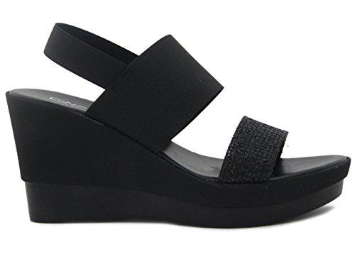 CINZIA SOFT Sandalo in tessuto ed elastico nero, zeppa 8cm., IBC17 E17