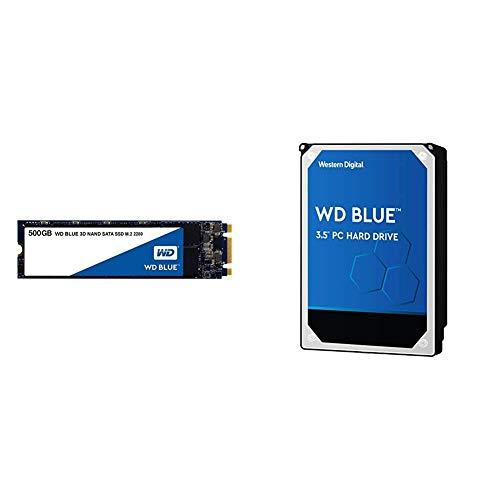 """WD Blue 3D NAND 500GB Internal PC SSD - SATA III 6 Gb/s, M.2 2280, Up to 560 MB/s - WDS500G2B0B Bundle with WD Blue 1TB PC Hard Drive - 7200 RPM Class, SATA 6 Gb/s, 64 MB Cache, 3.5"""" - WD10EZEX"""