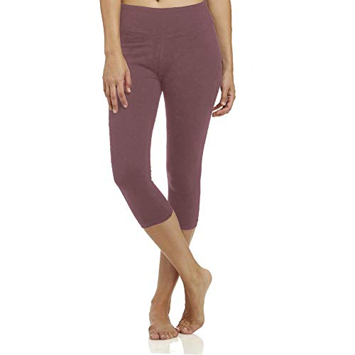High Waisted Soft Capri Leggings for Women-Tummy Control-One/Plus Size 20+Design  (Old Rose, ONE Size (US 2-12))